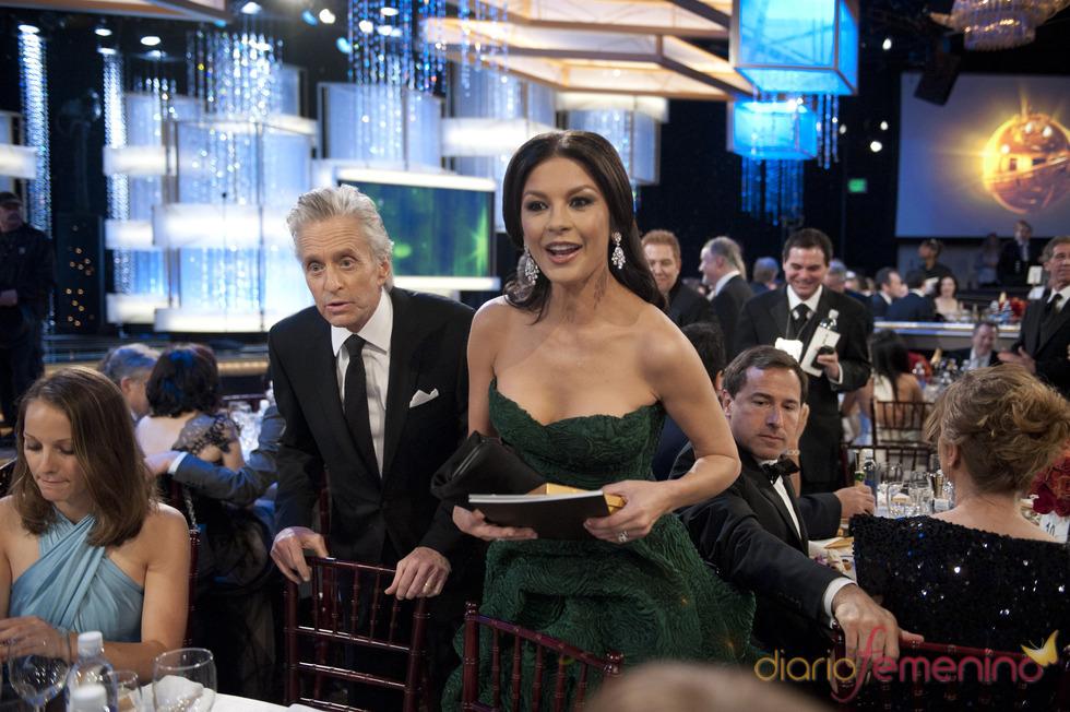 Michael Douglas y Catherine Zeta-Jones en la gala de los Globos de Oro 2011