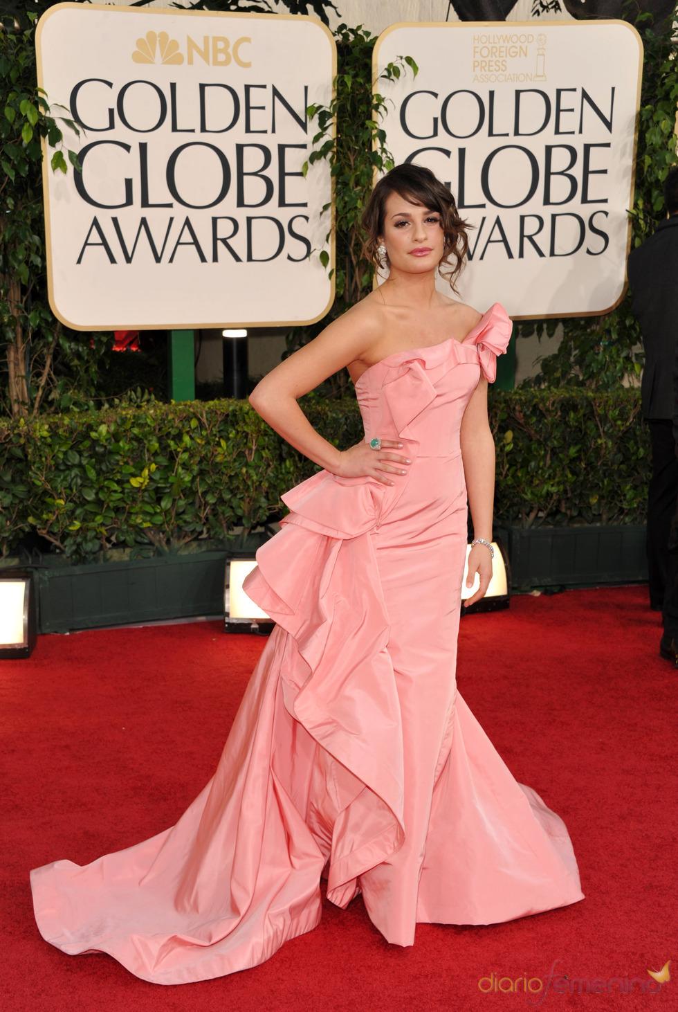 Lea Michele en la alfombra roja de los Globos de Oro 2011