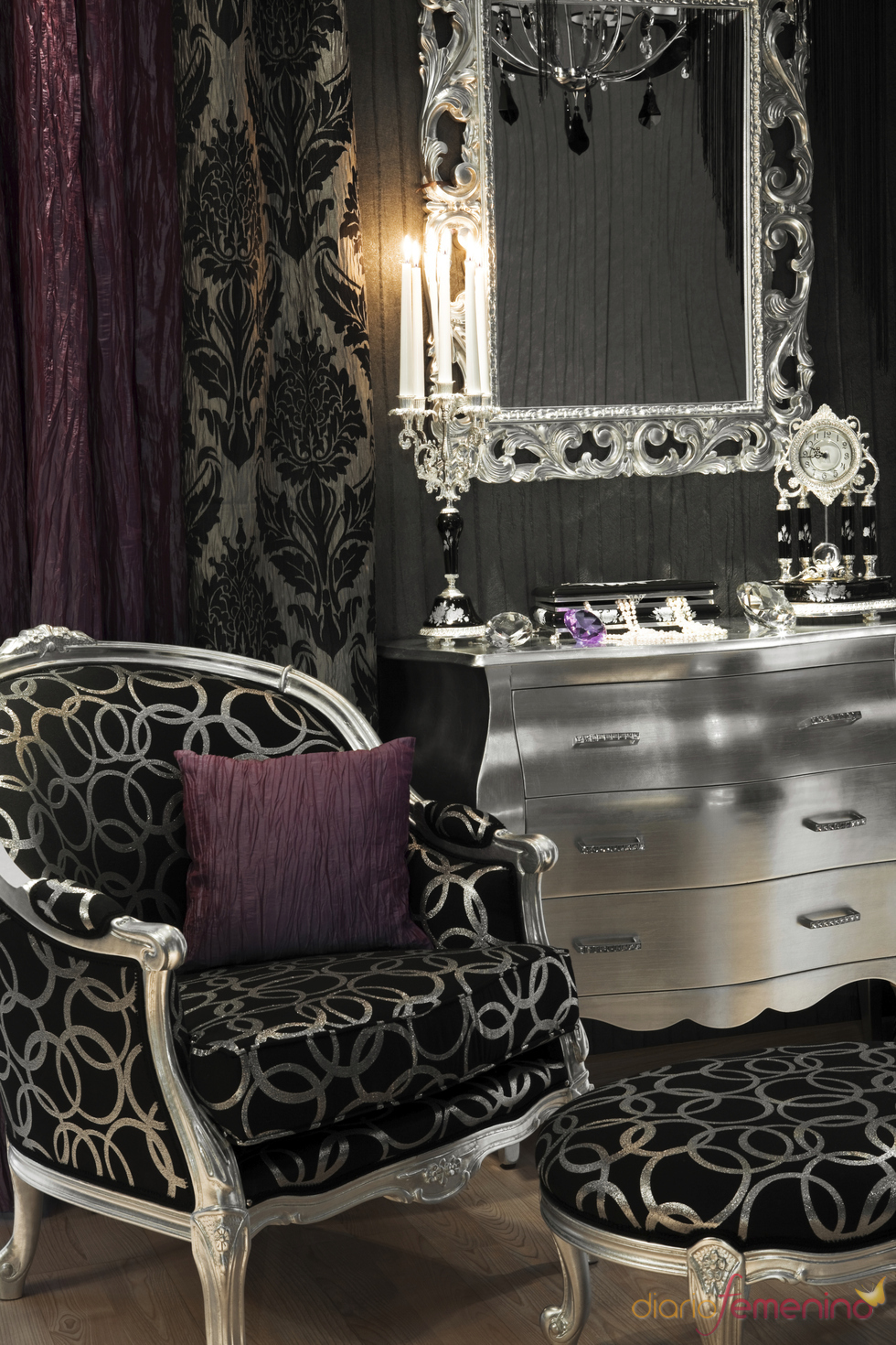 Decoracion vintage en tonos plateados negros y morados - Decoracion hogar vintage ...