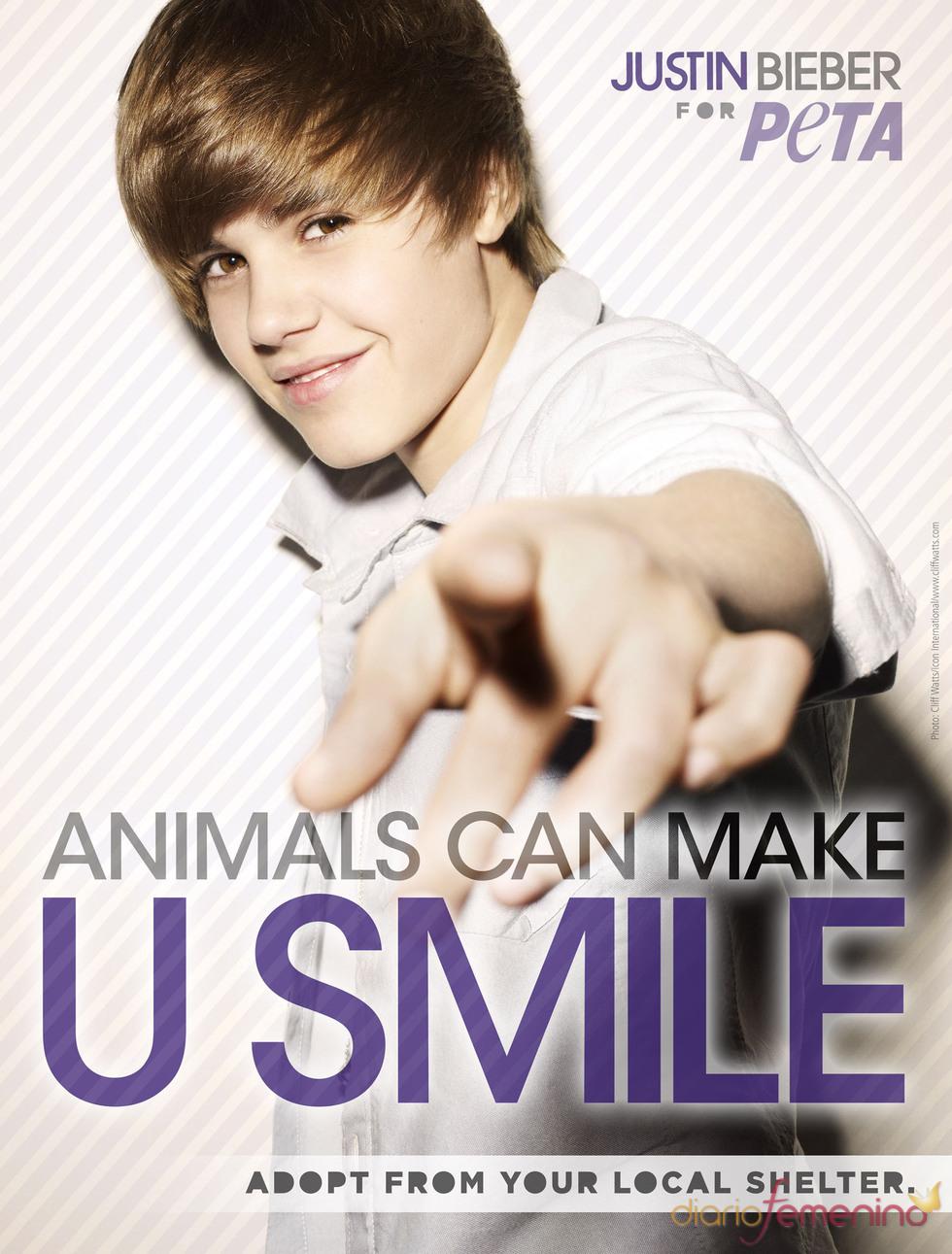 Justin Bieber protagoniza un anuncio de PETA por segunda vez