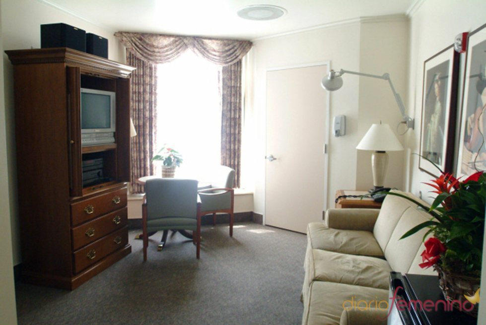 La sala de estar de la habitación de Penélope Cruz y su bebé