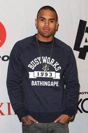Chris Brown en la fiesta previa a la Super Bowl