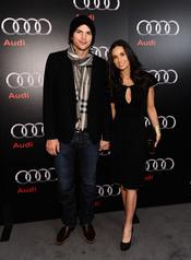 Demi Moore y Ashton Kutcher en una de las fiestas previas a la final de la Super Bowl 2011