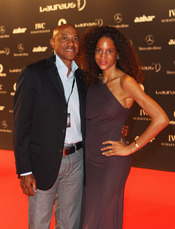 El ex atleta namibio Frankie Fredericks en la Laureus Welcome Party