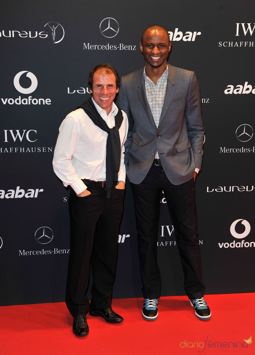 Los futbolistas Gianfranco Zola y Patrick Viera en la Laureus Welcome Party