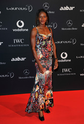 La atleta Merlene Ottey en la Laureus Welcome Party