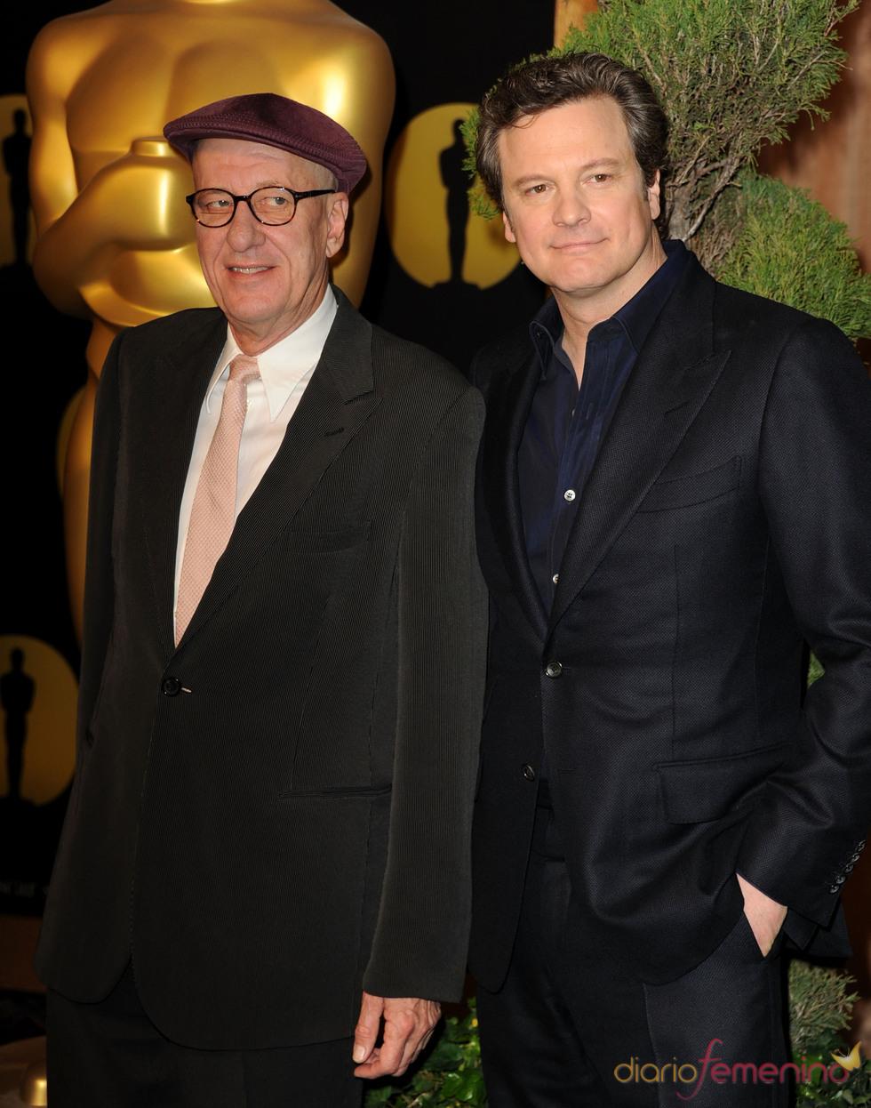 Geoffrey Rush y Colin Firth en el almuerzo de los nominados a los Oscar 2011