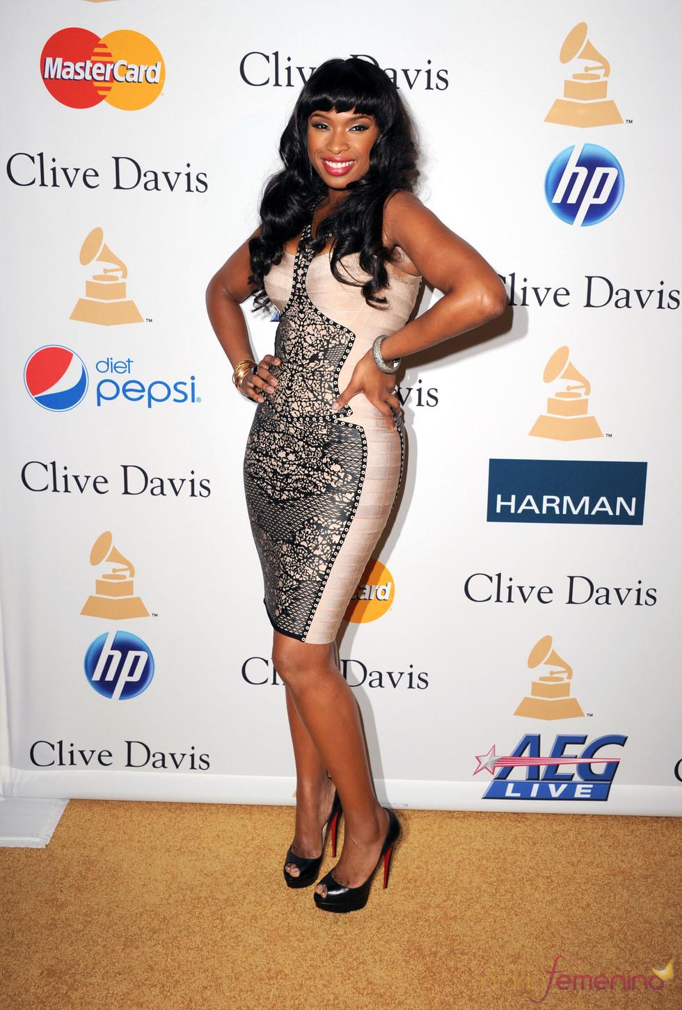 Jennifer Hudson en la fiesta previa a los Grammy 2011