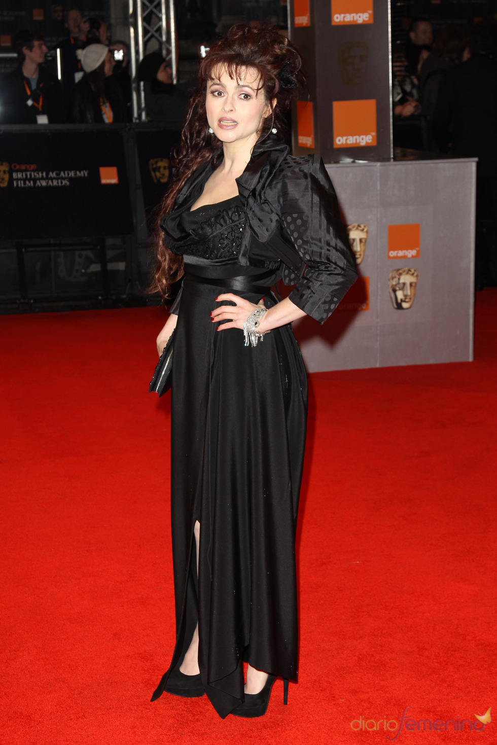 Helena Bonham Carter en la alfombra roja de los Bafta 2011
