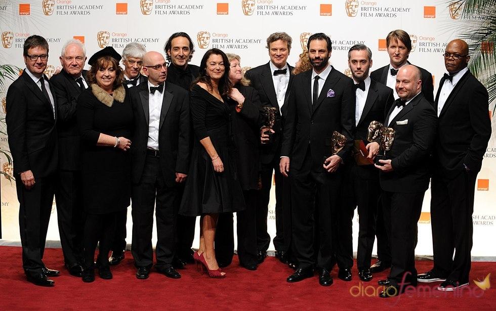 Miembros de la película ganadora 'El discurso del Rey'. Bafta 2011
