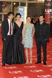 Valeria Alonso, Oriol Vila, Bárbara Lennie y Jonás Trueba en los Goya 2011