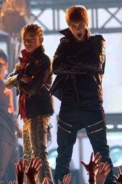 Justin Bieber y Jaden Smith en los Grammy 2011