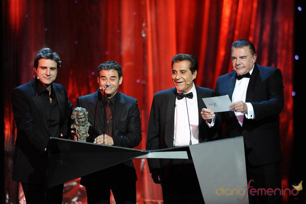 Alberto San Juan, Eduard Fernández, Andrés Pajares y Juan Luis Galiardo en los Goya 2011