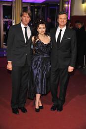Tom Hooper, Colin Firth y Helena Bonham Carter en la Berlinale