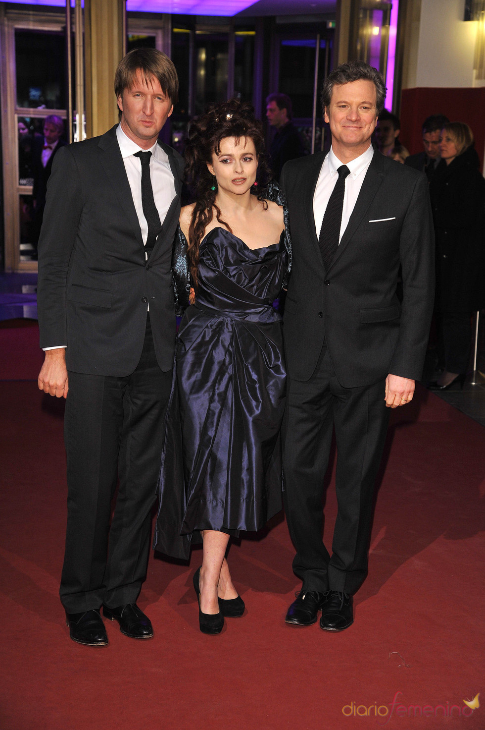 Tom Hooper, Colin Firth y Helena Bonham Carter en la Berlinale