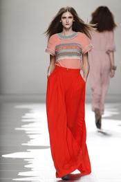 Resumen de Ailanto: pantalones naranja-rojizo voluminosos con blusa en patch