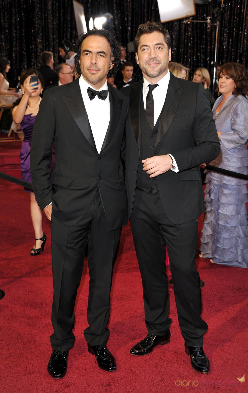 Alejandro González Iñárritu y Javier Bardem en la alfombra roja de los Oscar 2011