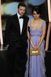 Justin Timberlake y Mila Kunis presentado mejor corto y mejor película de animación. Oscar 2011