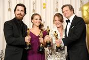 Christian Bale, Natalie Portman, Melissa Leo y Colin Firth con sus Oscars 2011