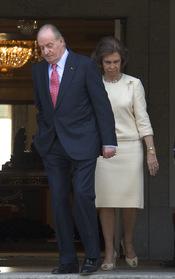 Los Reyes de España durante la visita del presidente de Chile