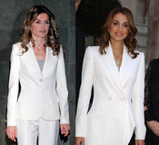 Rania de Jordania y la Princesa Letizia con traje de chaqueta blanco