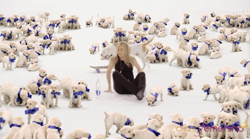 Jennifer Aniston rodeada de cachorros en el anuncio de Smart Water