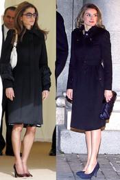 Rania de Jordania y la Princesa Letizia con un abrigo oscuro muy similar
