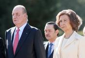 Sus Majestades los Reyes en la recepción al presidente chileno