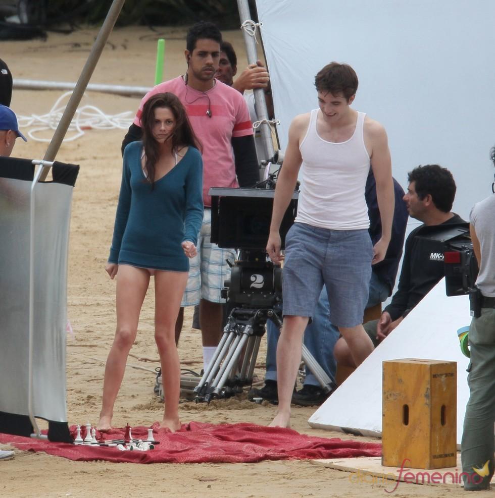 Robert Pattinson y Kristen Stewart rodando 'Amanecer'