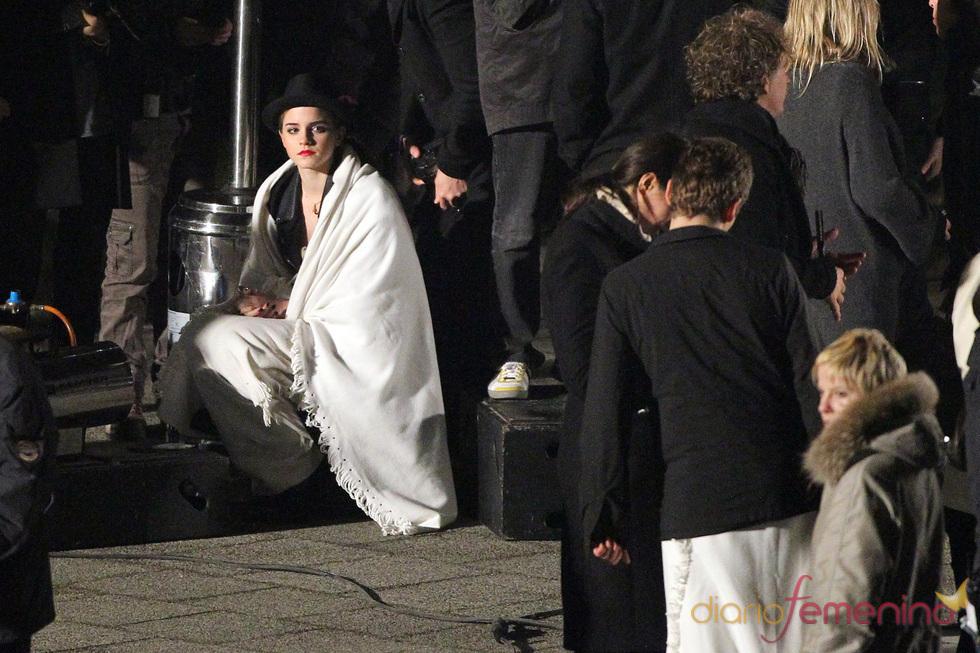 Emma Watson durante el rodaje del anuncio de Lancome