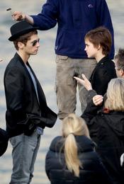 Emma Watson durante los ensayos del anuncio de Lancome