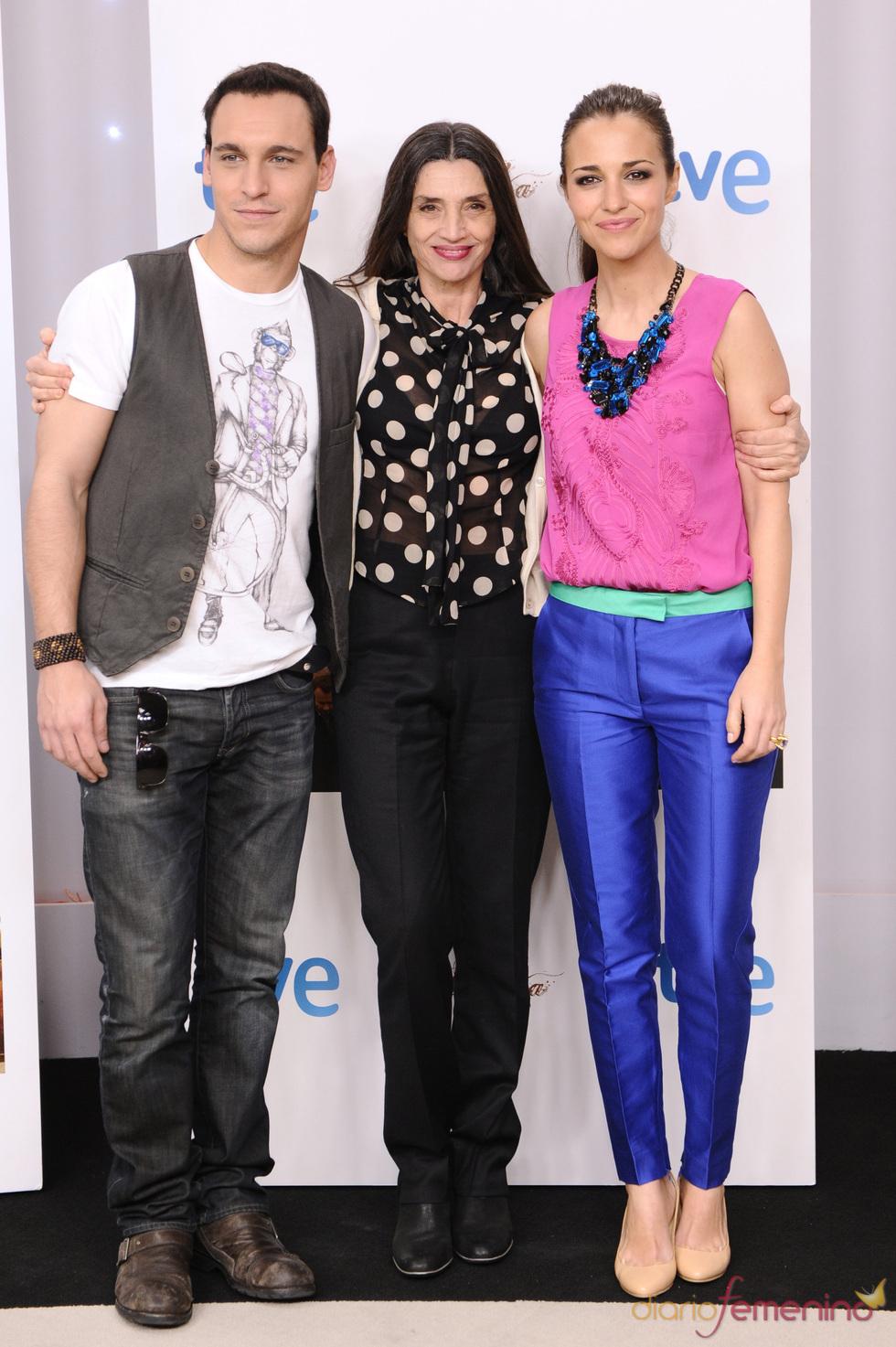 Paula Echevarría, Ángela Molina y Ricard Sales en la presentación de la segunda temporada de 'Gran Reserva'