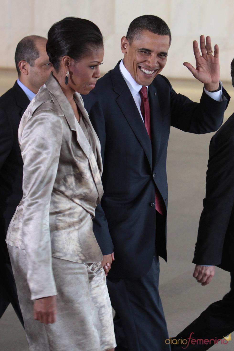 Barack Obama y Michelle Obama en el Palacio Itamaraty en Brasilia