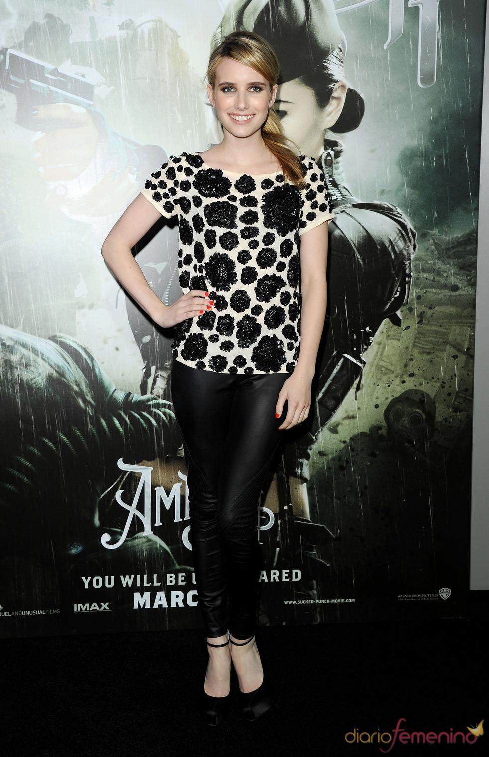 La actriz Emma Roberts en la presentación de 'Sucker Punch'