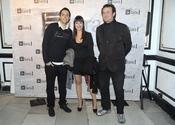 César Vea, David Guapo y su novia en el estreno de 'Más allá del puente'