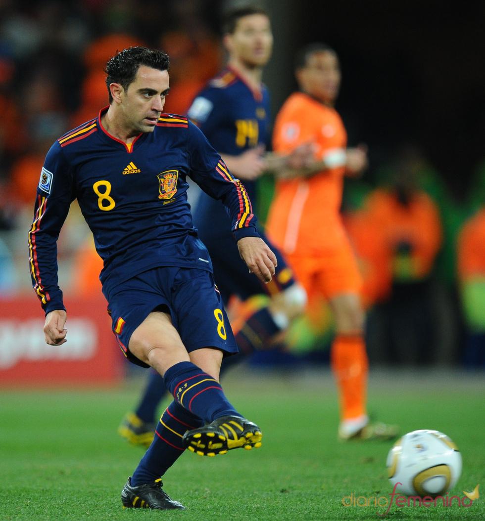 Xavi Hernández, con la Selección Española