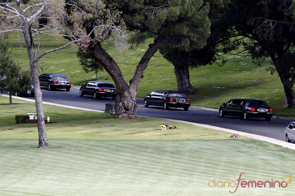 Cinco limisinas llevan a la familia de Liz Taylor hasta el cementerio Forest Lawn