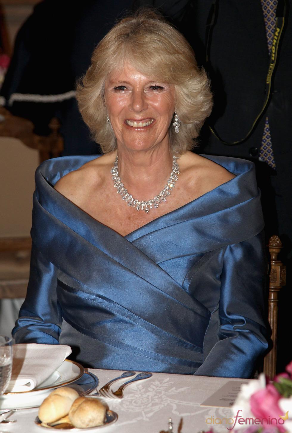 Camilla Parker Bowles durante la cena de gala del Palacio Real