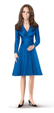 Figura de porcelana de Kate Middleton con el traje del día de la pedida de mano