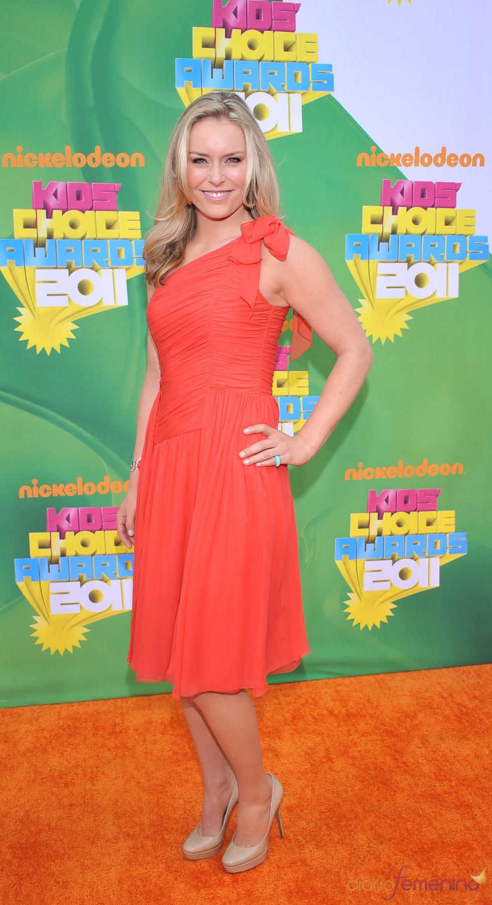 La atleta Lindsay Vonn en la alfombra roja de los Kids' Choice Awards