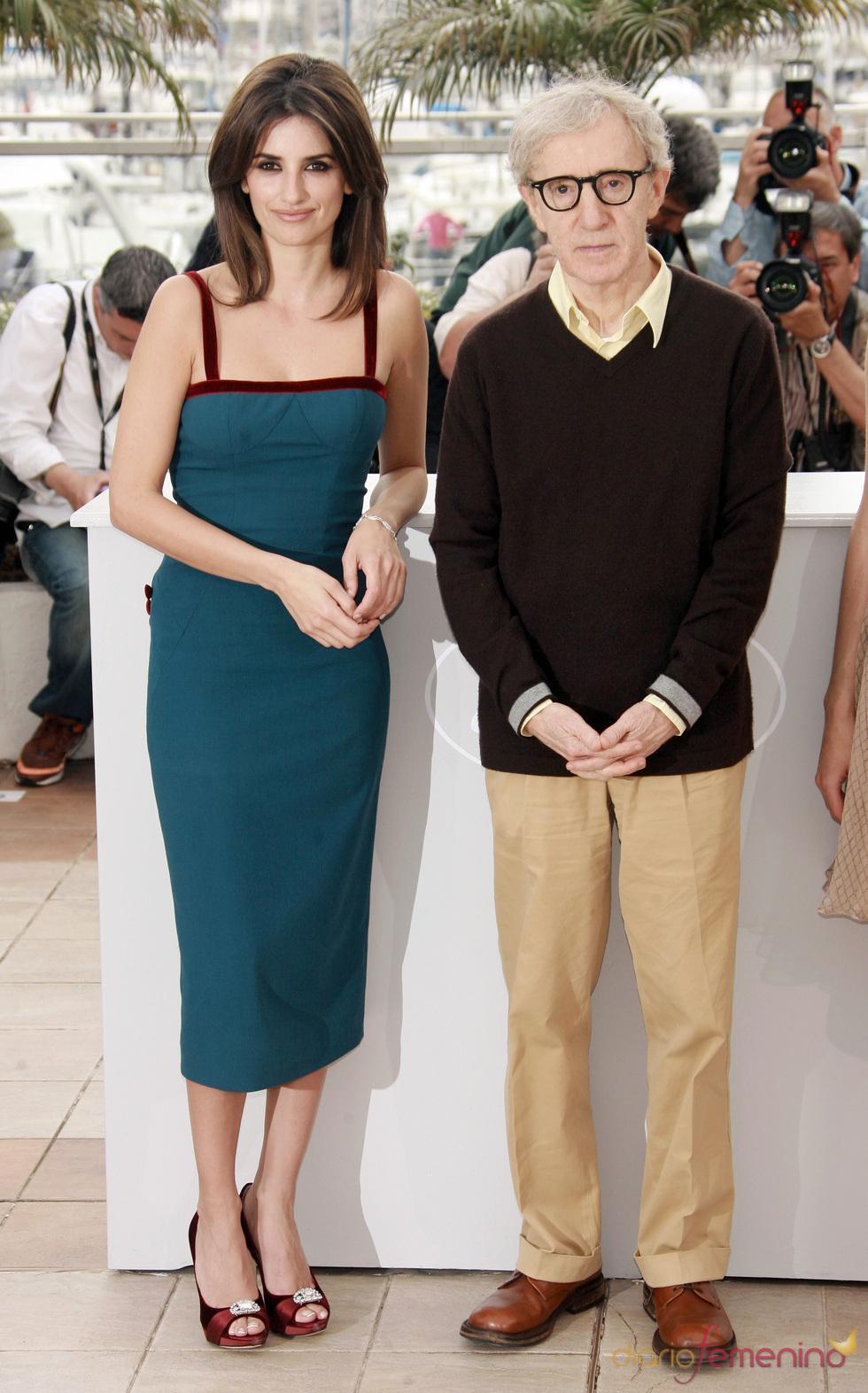 Penélope Cruz y Woody Allen en el Festival de Cannes de 2008