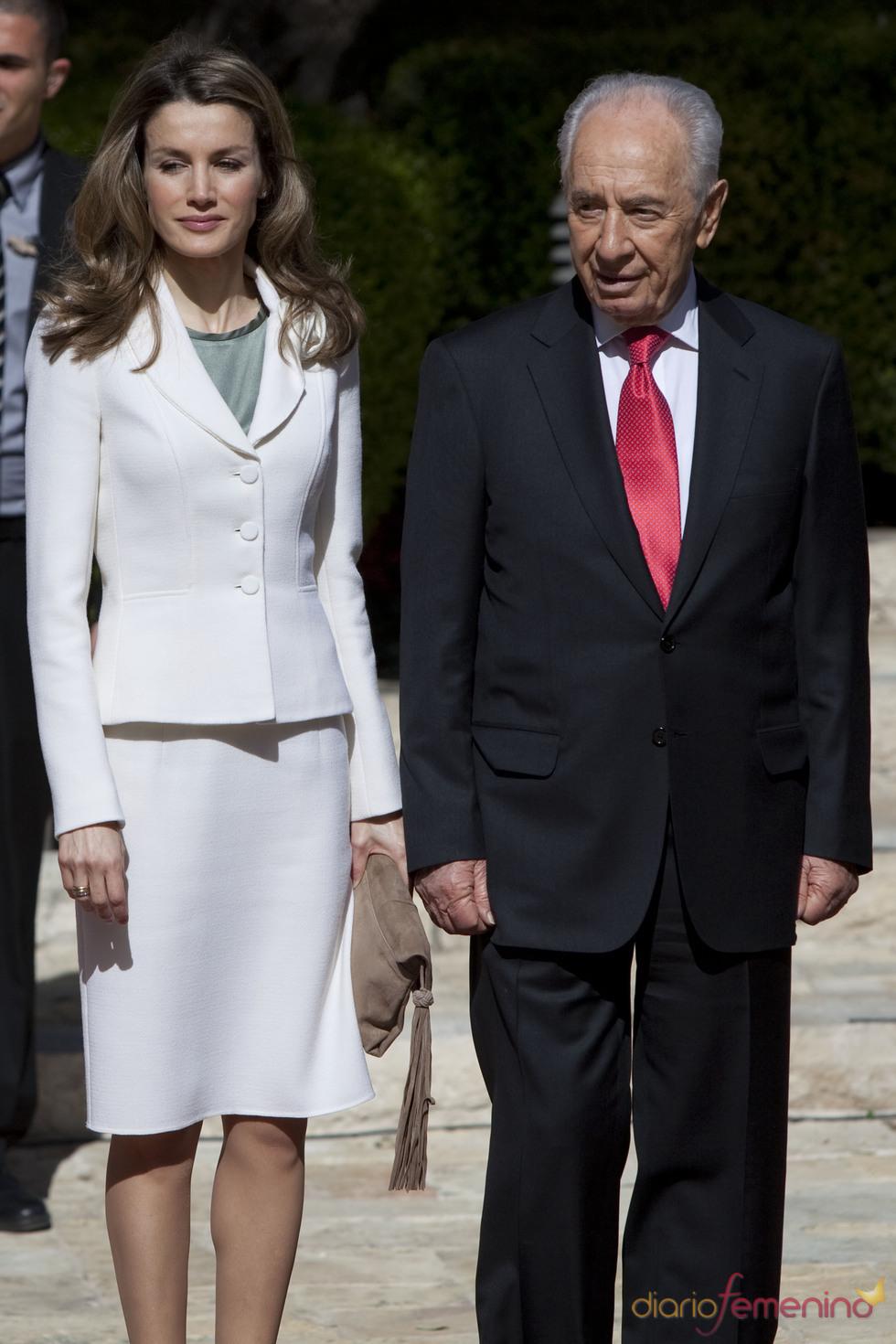 La Princesa Letizia con Simon Peres en su visita a Israel
