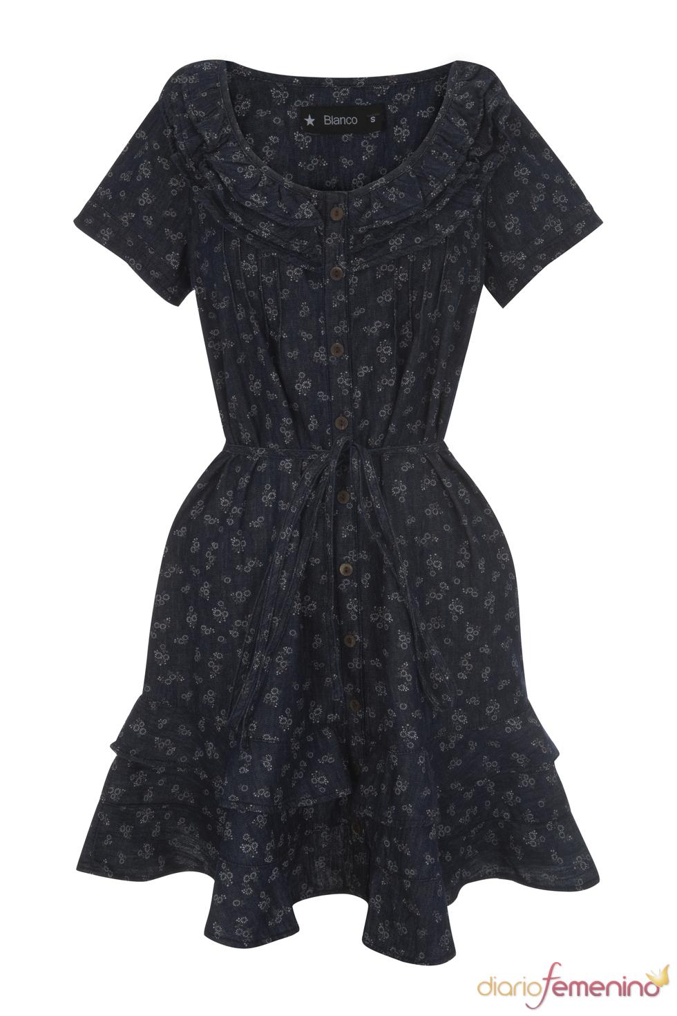 Vestido azul marino vaporoso de la colección primavera 2011 de Blanco