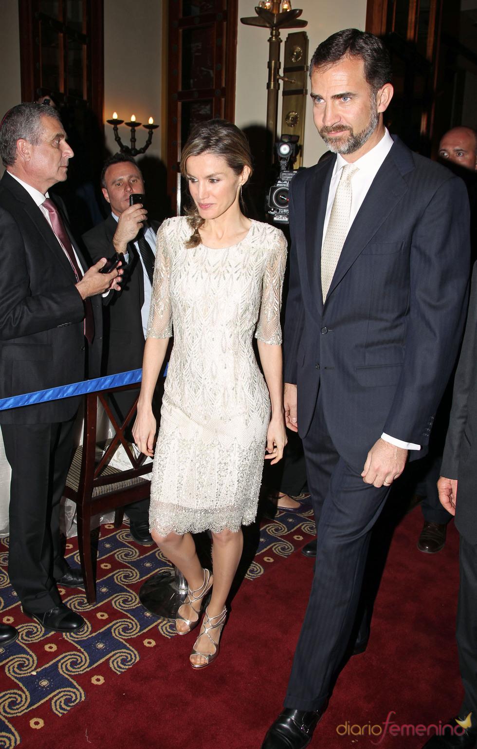 Los Príncipes de Asturias a su llegada a la cena de gala de Israel