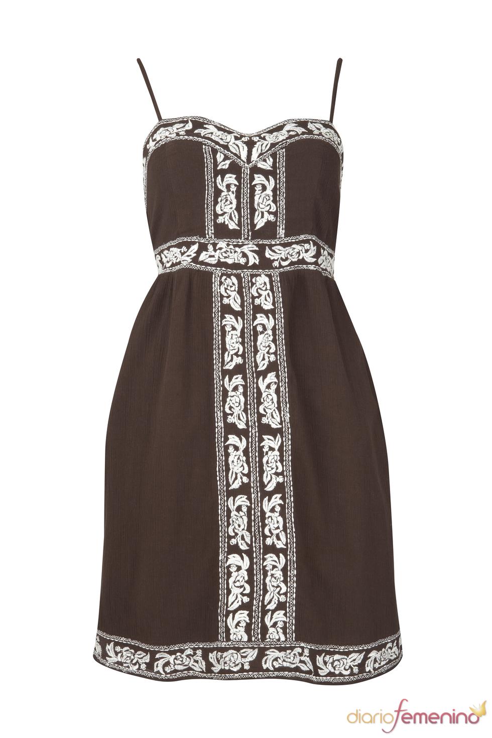 Vestido marrón de tirante fino de la colección primavera 2011 de Blanco