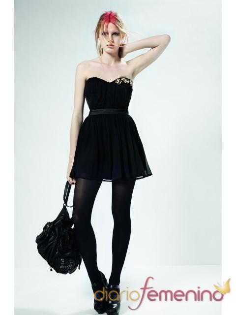 Vestido negro palabra de honor de Top Shop para la primavera 2011