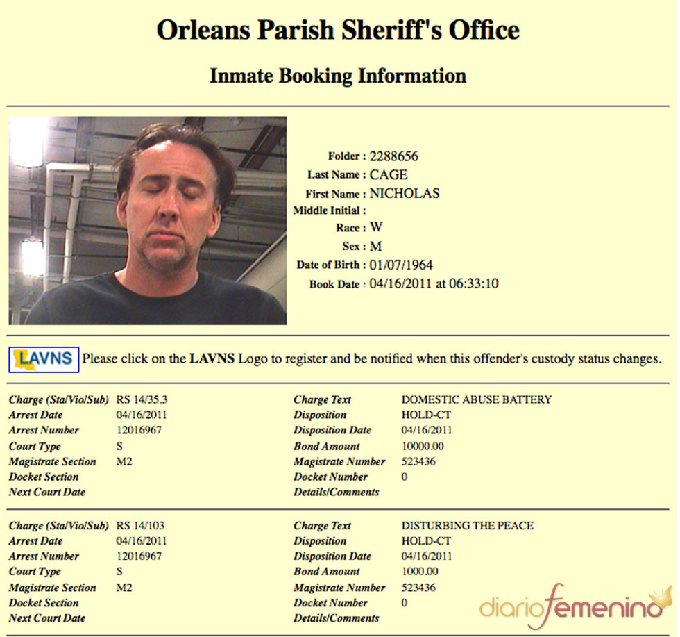 La ficha policial de Nicolas Cage