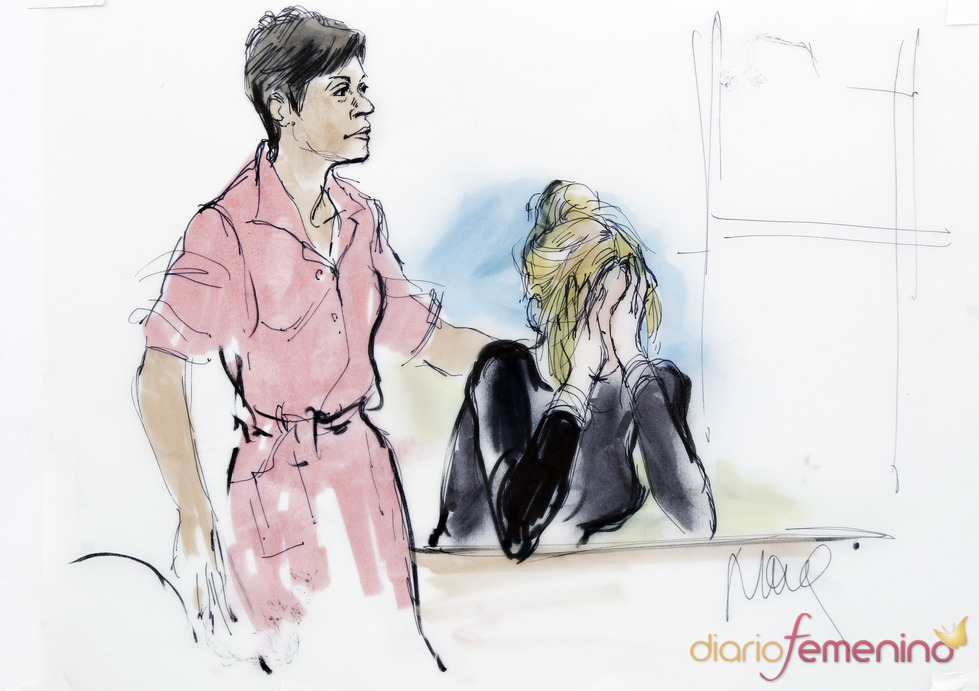 Linday Lohan llora, dibujo del juicio
