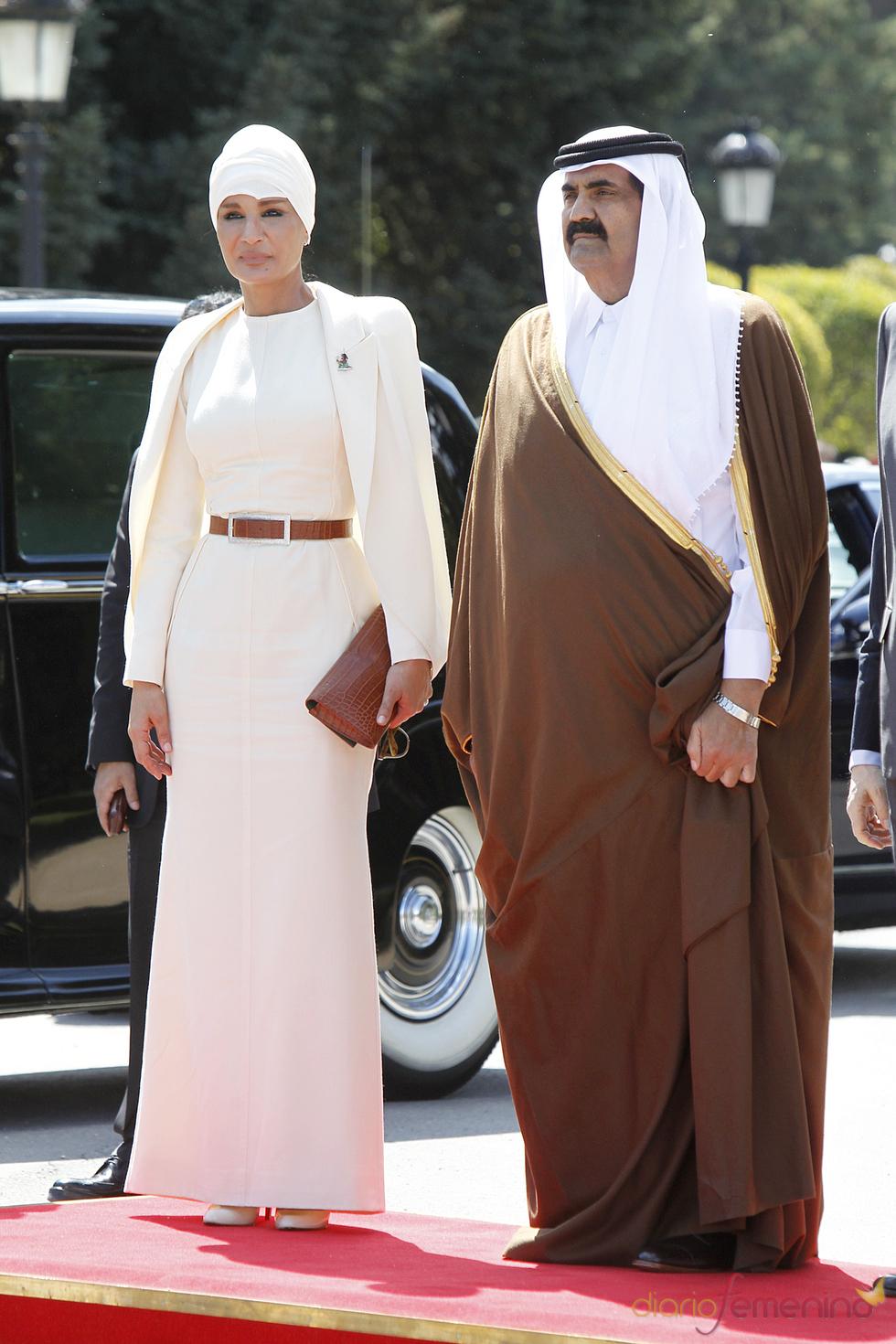 El emir de Qatar Hamad Bin Jalifa Al-Thani y la jequesa Mozah Bint Nasser