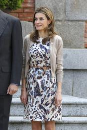 La princesa Letizia en la visita oficial del emir de Qatar y su esposa, Mozah